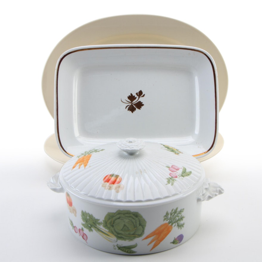 "Alfred Meakin ""Tea Leaf"" Platter and Other Ceramic Serve and Bakeware"