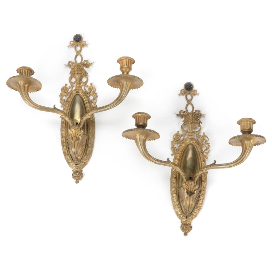 Rococo Style Gilt Metal Candle Sconces, Early 20th Century