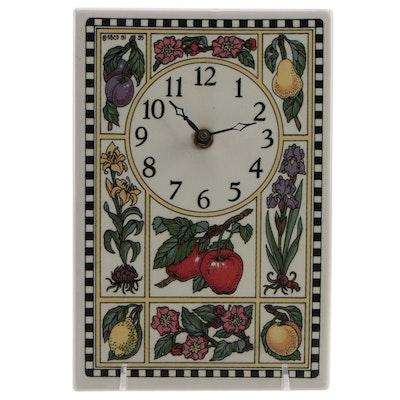 Santa Barbara Ceramic Design Floral and Fruit Motif Ceramic Clock, 1991