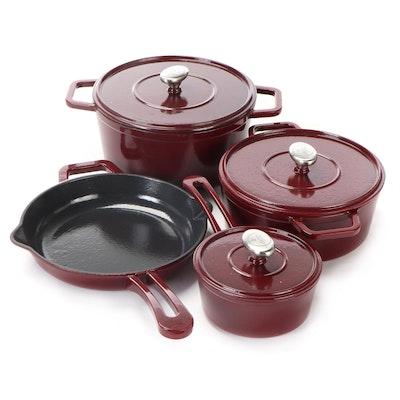 Symon Home Enameled Cast Iron Cookware Set, Contemporary