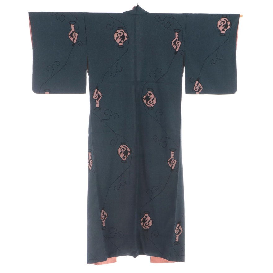 Omeshi Silk Kimono with Mid-Century Style Abstract Pottery Motif, Shōwa Period