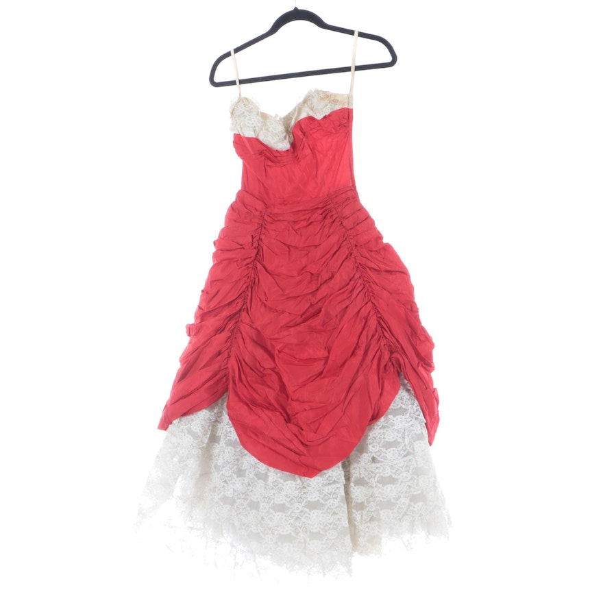 Red Ruched Sleeveless Occasion Gown with White Lace Trim and Underlay, 1950s