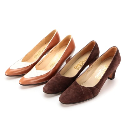 Salvatore Ferragamo Two-Tone Leather and Brown Suede Pumps