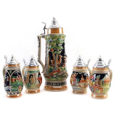 German Ceramic Molded Beer Steins, Late 20th Century