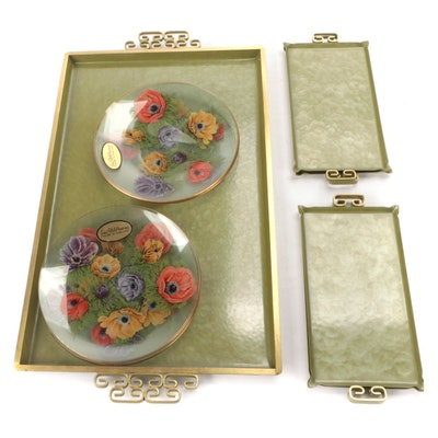"""James Clarke & Sons """"Poppy"""" Glass Plates with Kyes Metal Trays"""