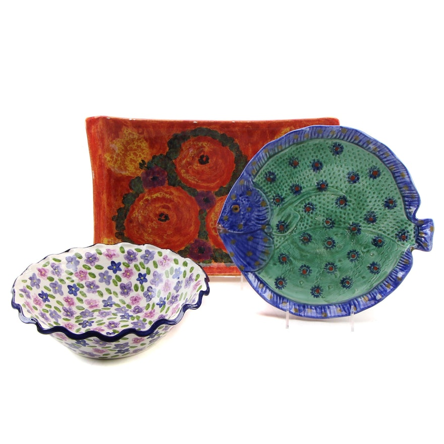Our Name is Mud Hand Painted Floral Ceramic Bowl with Other Ceramic Trays