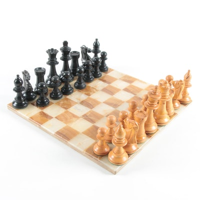 Stone Mosaic Chess Board with Carved Wood Pieces