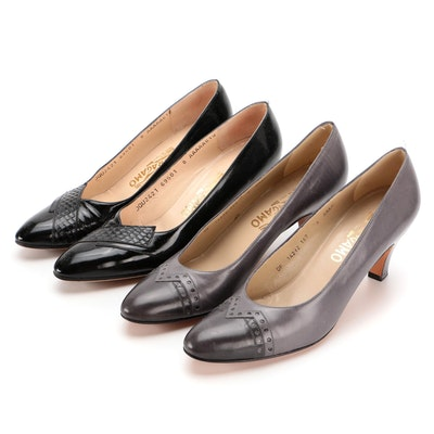 Salvator Ferragamo Two-Tone Grey Leather and Black Python Accent Pumps