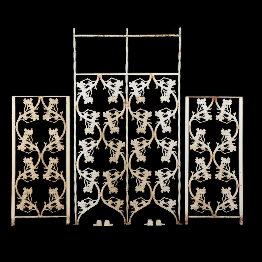 Painted Cast Iron Patio Divider Dogwood Panels, Mid to Late 20th Century