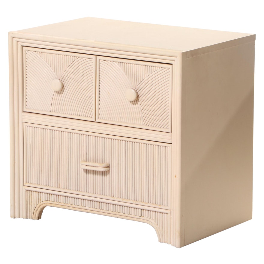 Stanley Furniture Co. Art Deco Style Cream-Painted & Bamboo-Decorated Nightstand