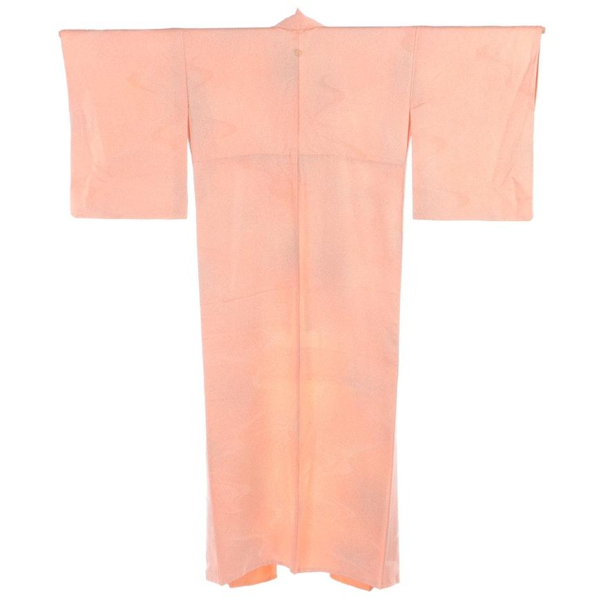 Single Mon Mizu Textured Peach Tone Iromuji Kimono, Shōwa Period