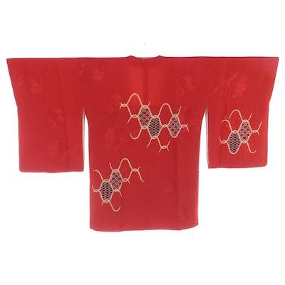 Textured Red Floral Kanoko Michiyuki with Yuzen Dyed Motifs, Shōwa Period