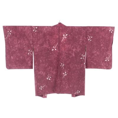 Shibori Accented Silk Haori, Shōwa Period