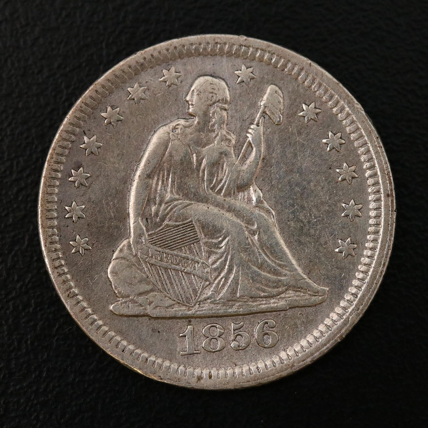 "1856 ""No Arrows - No Rays"" Seated Liberty Silver Quarter"