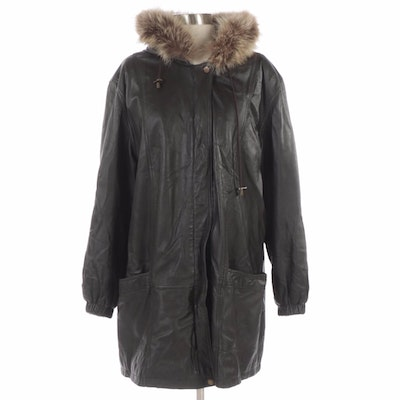 Excelled Collection Black Leather Parka with Raccoon Fur Trimmed Hood