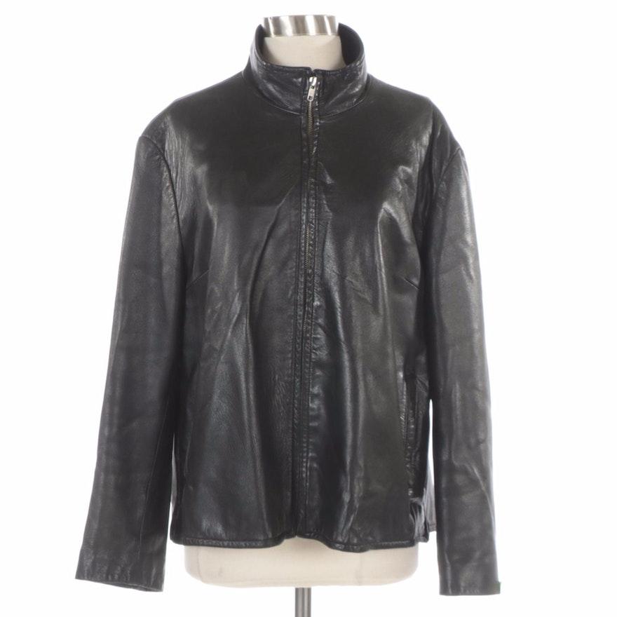 Harvé Benard by Benard Holtzman Black Leather Jacket with Zip Side Vents