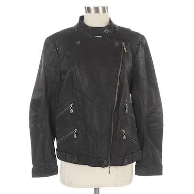 Spanner Black Leather Motocycle Jacket