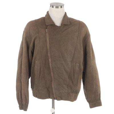 Men's Philippe Monet Bomber Jacket with Asymmetrical Zipper