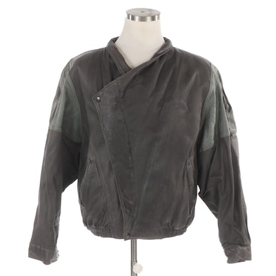Men's Marc Buchanan Asymmetrical Bomber Jacket in Embossed and Smooth Leather