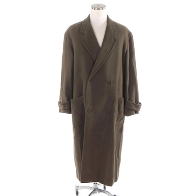 Men's Ronaldus Shamask Olive Green Wool Double-Breasted Overcoat