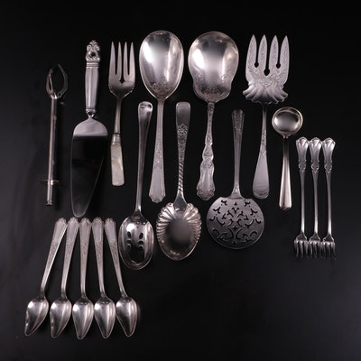 Sterling Silver and Silver Plated Serving Utensils, Mid-20th Century