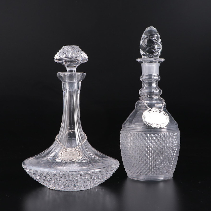 Crystal and Glass Decanters and Stoppers with Pewter and Silver Plate Tags