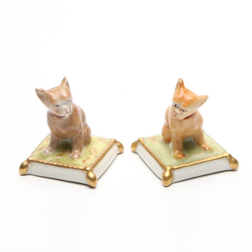 Porcealine de Paris Cat on Pillow Figurines, Mid to Late 20th Century
