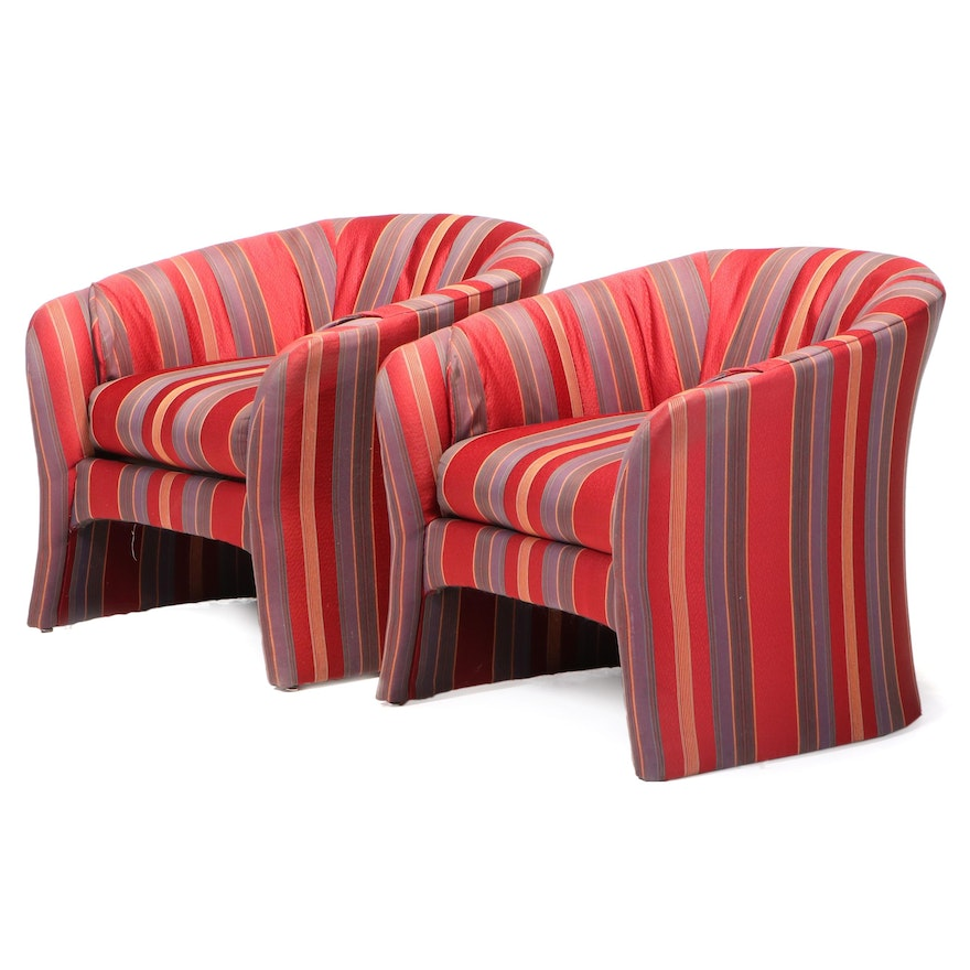 Pair of Lane Custom-Upholstered Tub Chairs, Late 20th Century
