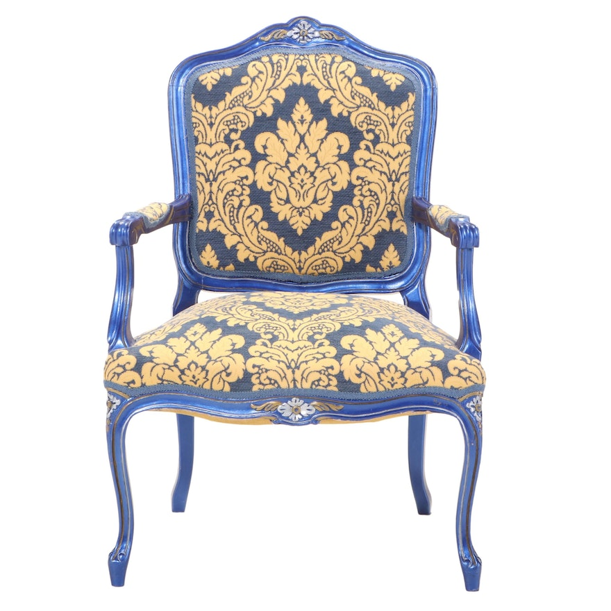 Louis XV Style Painted, Parcel-Gilt, and Custom-Upholstered Fauteuil