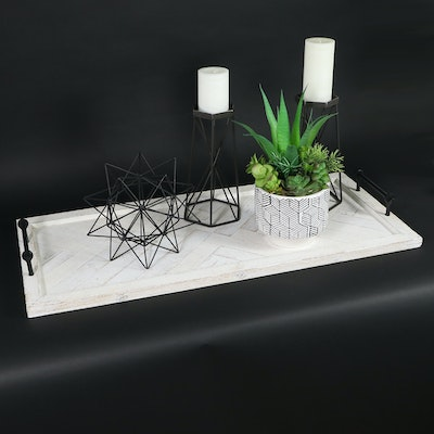 Wooden Serving Tray, Metal Candle Holder, and Other Decor, Contemporary