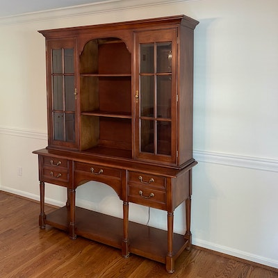 Bernhardt Cherry-Stained Wood and Glass Sideboard Display Hutch