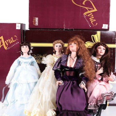 Jean Mclean and Avia Porcelain Dolls with COAs