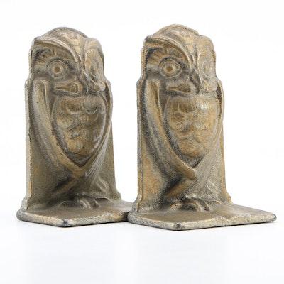 Art Deco Style Cast Brass Owl Bookends after Bradley & Hubbard