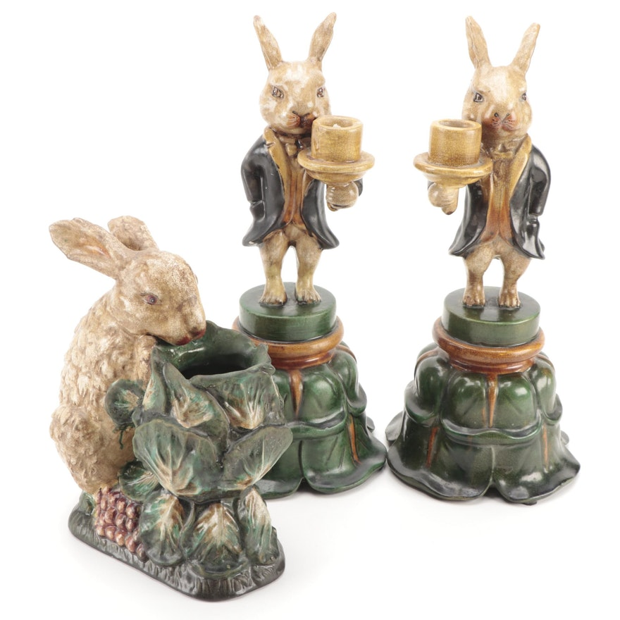 Ceramic Rabbit Candle Holders and Rabbit Planter