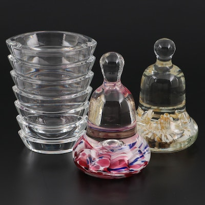 """Maude and Bob St. Clair Art Glass Paperweights with Baccarat """"Coco"""" Crystal Vase"""