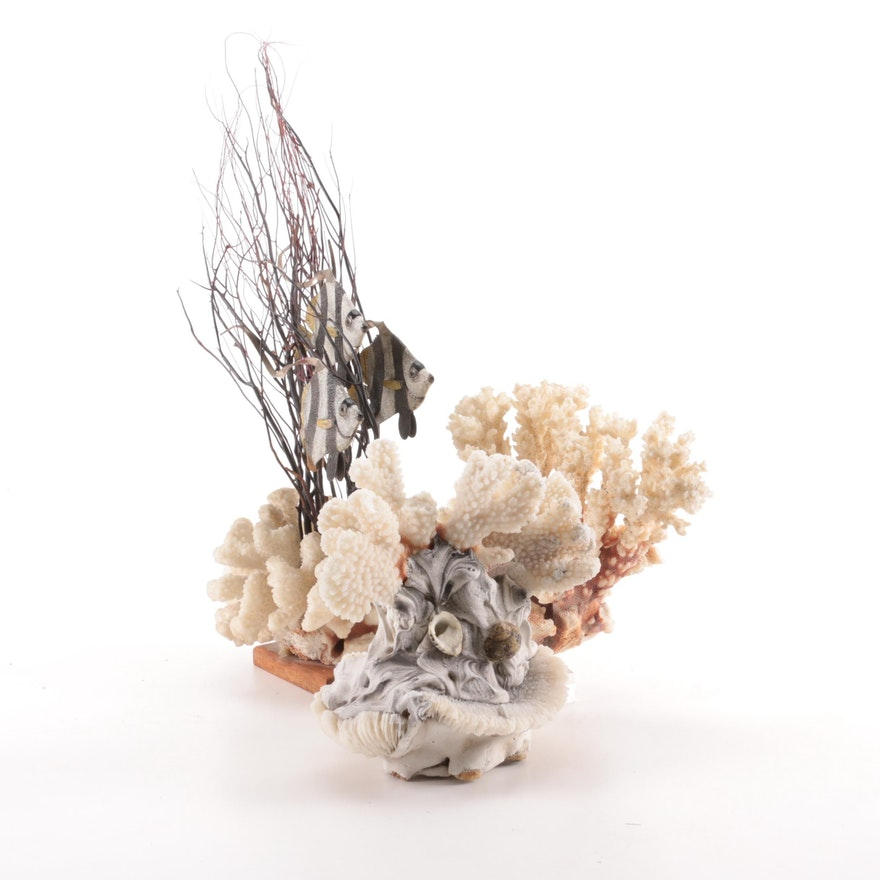 Coral Specimens with Coral Base Angelfish Figurine