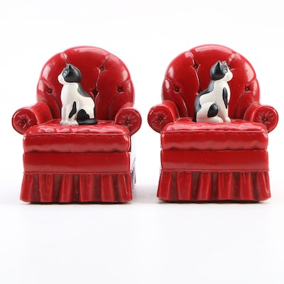 Hallmark Cat on Red Armchair ResinBookends