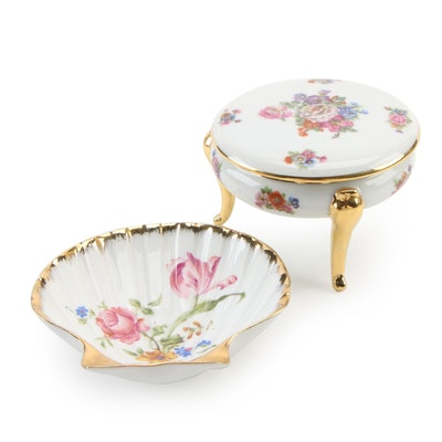 Isco and Orlibe Limoges Porcelain Vanity Box and Shell Dish