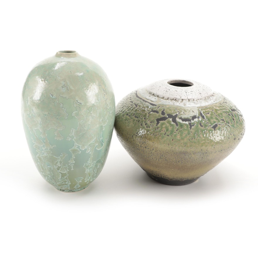 Studio Art Pottery Crystalline Glaze Vase with Other Art Pottery Vessel