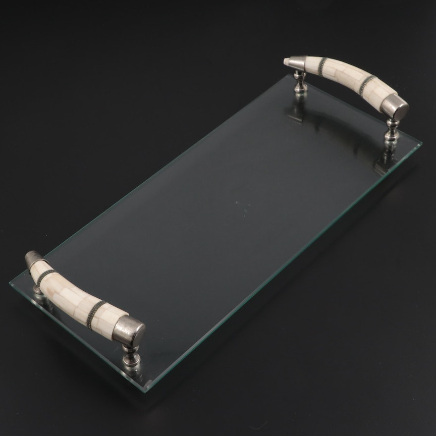Glass Tray With Faux Bone Horn Shaped Handles, Contemporary