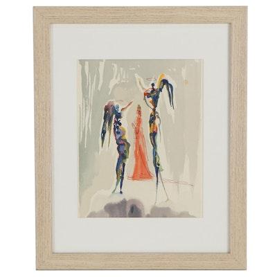 "Salvador Dalí Wood Engraving ""Gloria Patri"""