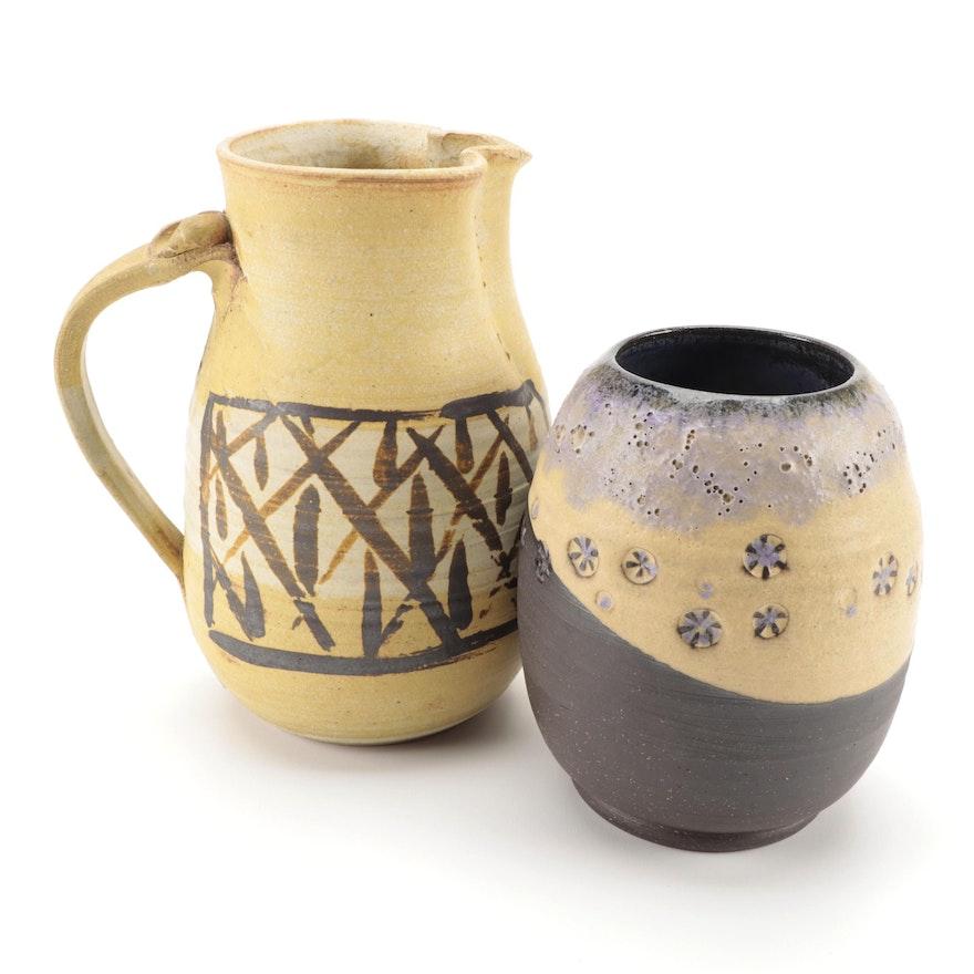 Pit-Fired Art Pottery Impressed Vase with Shino Glazed Jug with Iron Brushwork