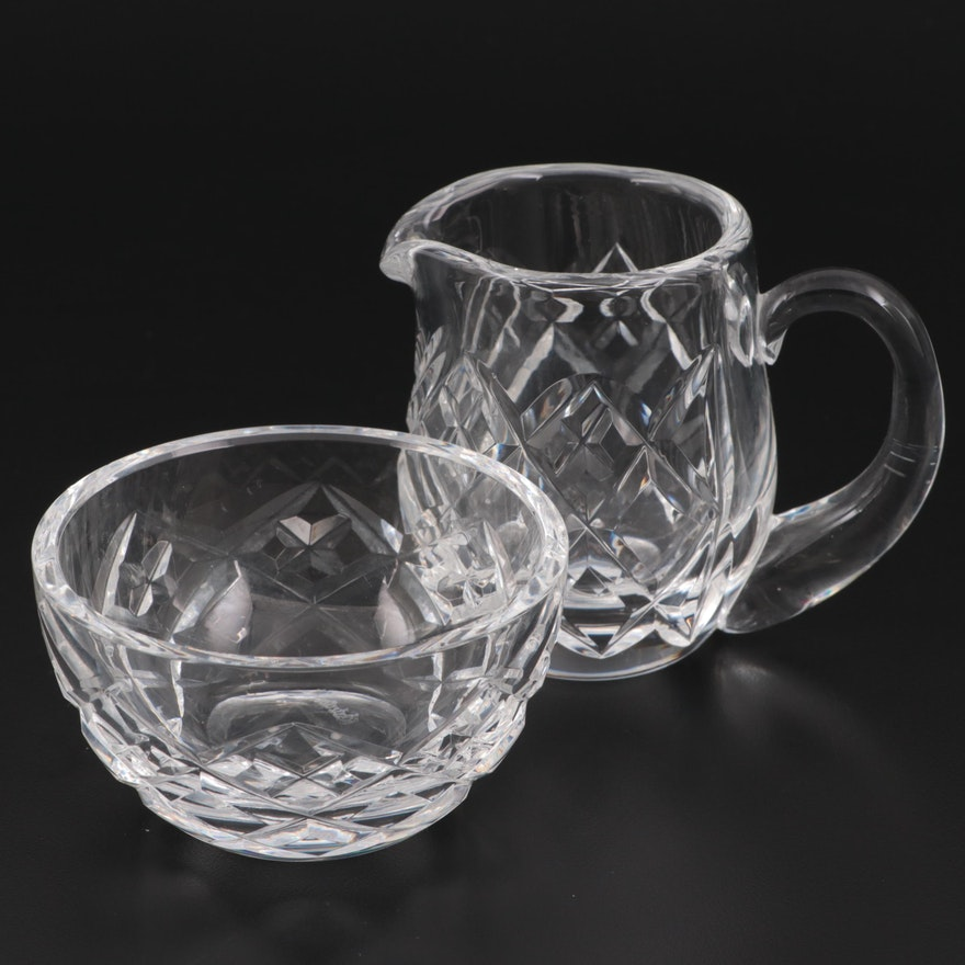 Waterford Crystal Open Sugar Bowl and Creamer, Late 20th Century