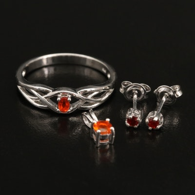 Sterling Fire Opal Pendant, Ring and Earrings