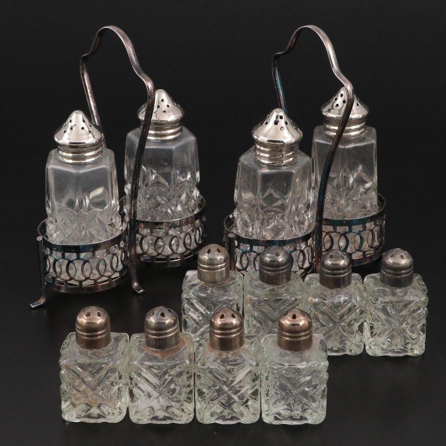 Pressed Glass Salt and Pepper Shakers, Mid-20th Century