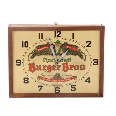 Cincinnati Burger Brau Wood Framed Electric Wall Clock, Mid-20th Century