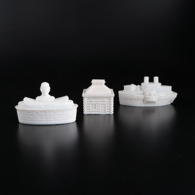 """""""Admiral Dewey"""", """"Battleship"""" and """"Log Cabin"""" Milk Glass Covered Candy Dishes"""