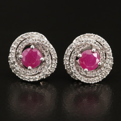 Sterling Ruby and Topaz Knot Earrings