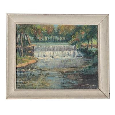 "John W. Davison Landscape Oil Painting ""Payn's Falls,"" 1960"