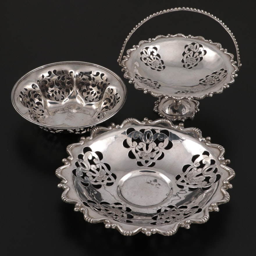 Frank Whiting Sterling Silver Bowl with Mexican Sterling Silver Compote and Bowl